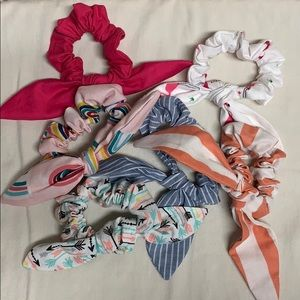 Set of 6 knot bow Scrunchies